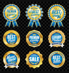 Set of excellent quality blue badges with gold vector