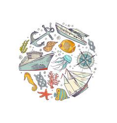 sketched sea elements circle concept vector image vector image
