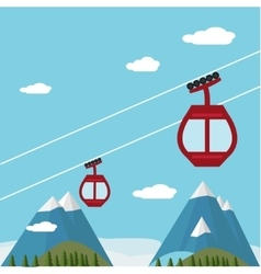 Ski lift gondola snow mountains forest vector