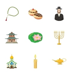 Spirituality icons set cartoon style vector