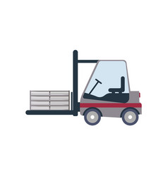 Warehouse forklift truck icon in flat design vector