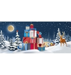 Winter landscape with gifts in the vector