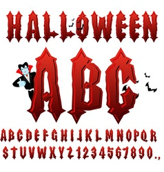 Halloween abc blood gothic letters ancient vector