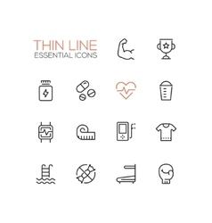 Sport training - thin single line icons set vector