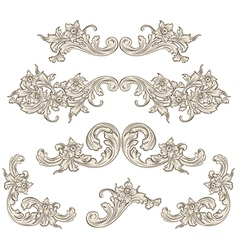 Set of calligraphic elements vintage baroque vector