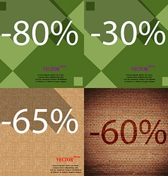30 65 60 icon set of percent discount on abstract vector