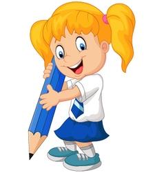Cartoon school girl holding pencils vector image