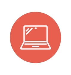 Laptop thin line icon vector