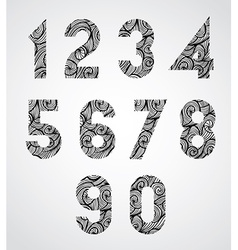 Old style numbers with hand drawn curly lines vector