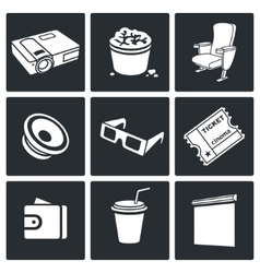 Cinema hall icons set vector