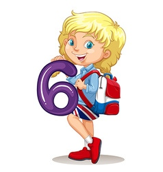 Little girl holding number six vector