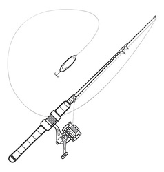Outline spinning fishing rod vector