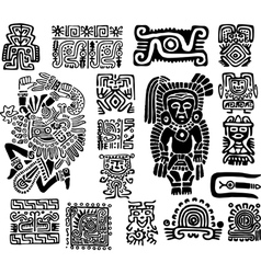 set mexican symbols vector image