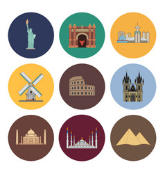 8 flat landmark icons vector image vector image