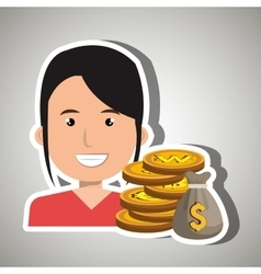 Woman with bag coins isolated icon design vector