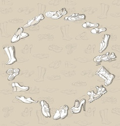 Hand drawing various types of different footwear vector