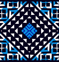 Abstract ethnic seamless blue geometric pattern vector