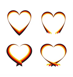 Abstract hearts with the colors of the German flag vector image