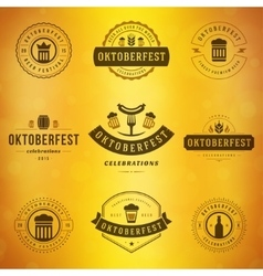 Beer festival oktoberfest typography labels vector