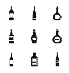 Bottle packaging icon set simple style vector