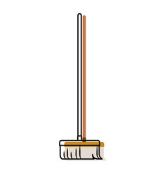 Broom with wooden stick i in colorful watercolor vector