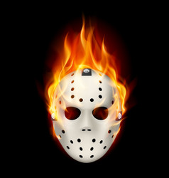 Burning hockey mask on black background for vector