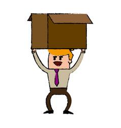 Businessman carrying a big cardboard box vector