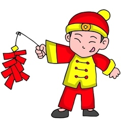 Character of boy with firecracker vector
