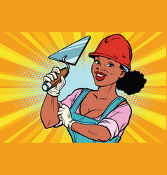construction worker with trowell woman vector image vector image