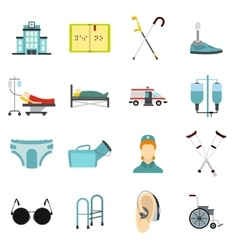 Disabled people care icons set flat style vector
