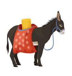 Donkey in harness that carries sacks with sleeping vector