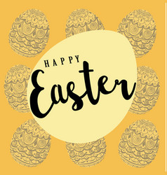 Easter pattern background with eggs vector