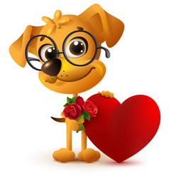 fun yellow dog with bouquet of red rose red heart vector image