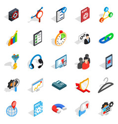 Guidance icons set isometric style vector