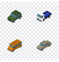 Isometric car set of armored lorry auto and vector