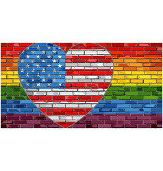 lgbt flag on a brick wall with the usa heart vector image vector image