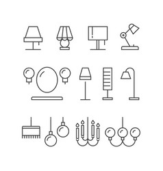 lighting icons collection - lamps floor lamps vector image vector image