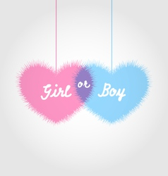 pink and blue baby shower in form hearts - vector image