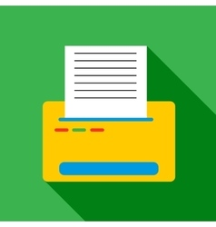 Printer with paper icon flat style vector