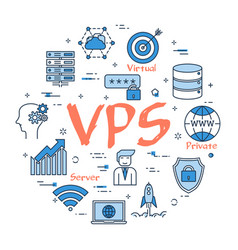 round linear banner - vps concept vector image vector image