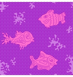 Seamless Marine Pattern with fish vector image vector image