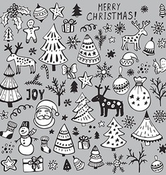 Set of hand drawn sketchy christmas elements vector image