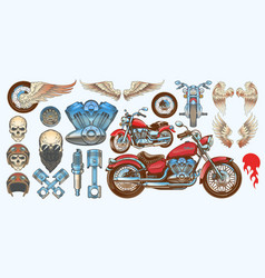 set of icons of vintage motorcycle in various vector image vector image