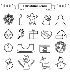 Set of line Christmas icons isolated vector image