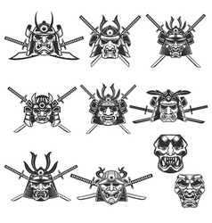 set of samurai masks and helmets with swords on vector image