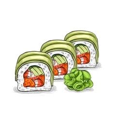 Sushi color sketch dragon roll vector