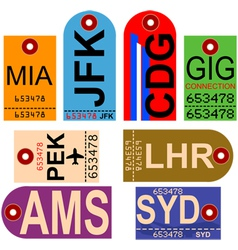 Vintage baggage tags vector