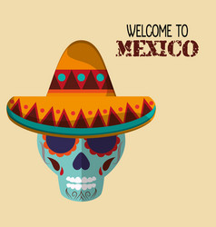 welcome to mexico travel greeting vector image
