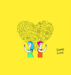 Women friendship and love internet concept art vector