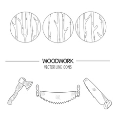 Woodwork icons vector image vector image